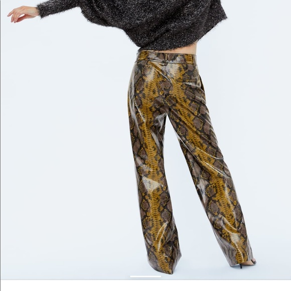 top-rated original discount price search for original Zara snake print trousers pants M high waist gold